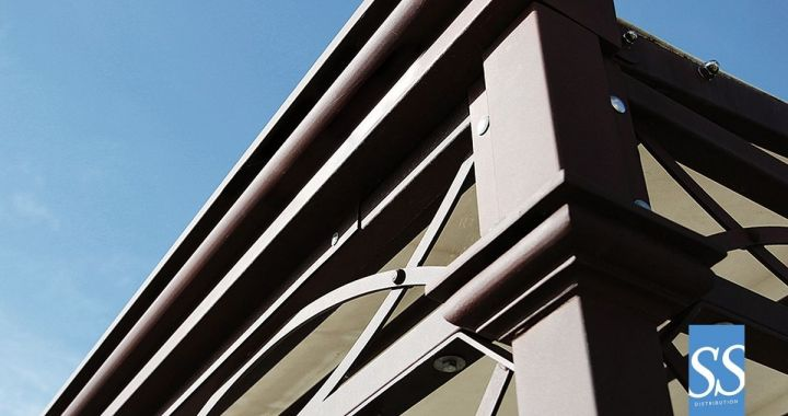 Pergola 80 Antica Curve, abris, pergola fer forge , pergola traditionnelle, Couverture de terrasse, pergola bâche fixe PVC, chassis acier galvanisé laqué époxy, Corse