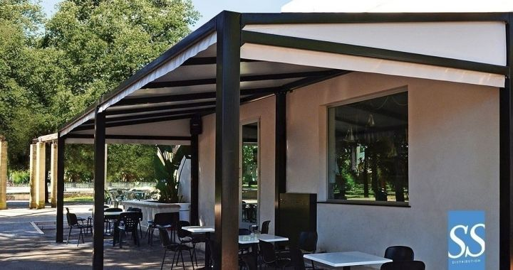Pergola 150, abri, Couverture de terrasse, pergola bâche fixe PVC, chassis acier galvanisé laqué époxy, Pensilina max light, Pensilina max leger, Pensilina max leggero, Corse