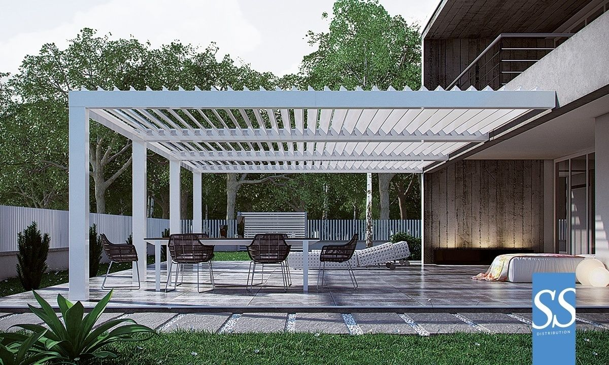 pergola bioclimatique par200 adoss e sur mesure brise soleil orientable bso motoris haut de gamme. Black Bedroom Furniture Sets. Home Design Ideas