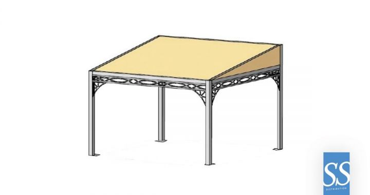 Pergola 80 Antica, abris, pergola fer forge , pergola traditionnelle, Couverture de terrasse, pergola bâche fixe PVC, chassis acier galvanisé laqué époxy, Corse