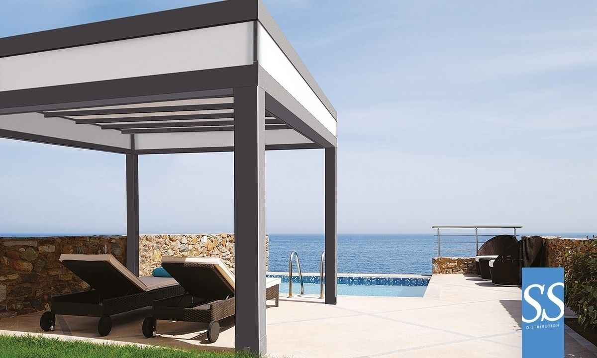 Pergola bioclimatique toile motoris e r tractable for Pergola bioclimatique retractable