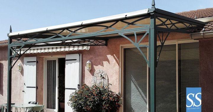 Pergola 50 Antica, abris, pergola fer forge , pergola traditionnelle, Couverture de terrasse, pergola bâche fixe PVC, chassis acier galvanisé laqué époxy, Corse