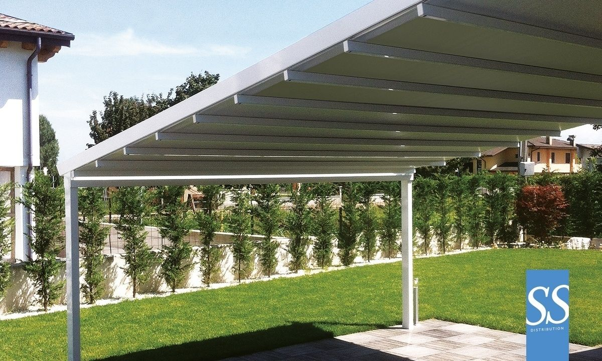 pergola bioclimatique toile motoris e r tractable pergola g ante xl supports renforc s sur. Black Bedroom Furniture Sets. Home Design Ideas