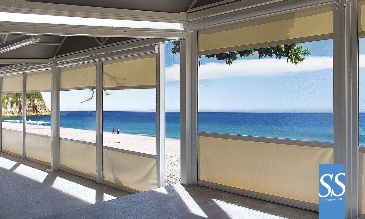 Store exterieur vertical pour terrasse enroulable avec coffre guides contreventements et - Auvent transparante terras ...